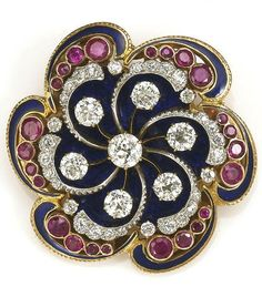 A ruby, enamel and diamond swirl brooch composed of old European-cut diamonds and circular-cut rubies; estimated total diamond weight: 3.00 carats; estimated total ruby weight: 1.60 carats; mounted in fourteen karat gold; diameter: 1 9/16in. (minor loss to enamel)