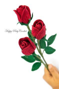 Easy Crochet Rose PATTERN Crochet Flower by HappyPattyCrochet