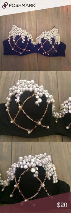 ✨ Pearl and chain rave bra Size 34 B. Great for  Halloween Raves  burlesque  Iheartraves Intimates & Sleepwear Bras