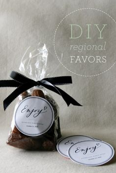 possible favor idea: dates or nuts baggies or something that's the groom/bride's favorite snack