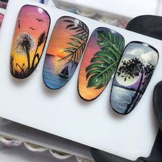 Нет описания фото. Animal Nail Designs, Fruit Nail Designs, Animal Nail Art, Cool Nail Designs, Palm Nails, Sea Nails, Summer Nails Almond, Nail Art Wheel, Nail Art For Kids