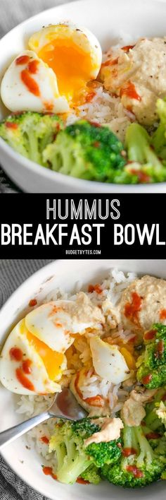 Hummus Breakfast Bowls - a medley of colors, flavors, and textures, and a great way to work vegetables into the most important meal of the day. : BudgetBytes   #brunch #breakfast #hummus #bowl