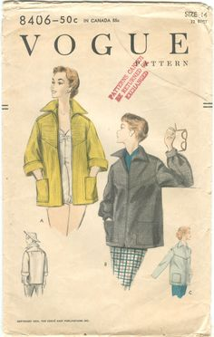 Vogue 8406 Vintage 1950s Rockabilly Jacket with Italian Collar and Patch Pockets Pattern B32