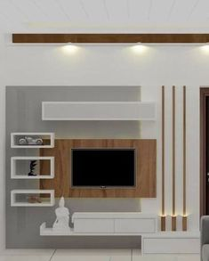 Tv Unit Interior Design, Tv Unit Furniture Design, Tv Wall Design, Tv Cabinet Design Modern, Tv Cabinet Wall Design, Lcd Unit Design, Living Room Wall Units, Living Room Tv Unit Designs, Ceiling Design Living Room