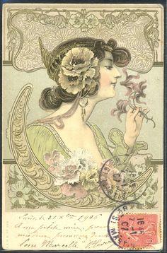 nouveau lady postcard - Bing Images