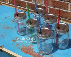 DIY Mason Jar Sippy Cup *this one tells me the grommet size at home depot****just did the for my students next year! Except I did straws in center. Had polka dot straws! Love them! The grommet was loose in the hole but once straws are in it's very tight and they don't leak! Going to do names with sharpie and bake. Mason Jar With Straw, Mason Jar Cups, Mason Jar Candles, Mason Jar Diy, Mason Jar Crafts, Homemade Gifts, Diy Gifts, Diy Artwork, Diy Presents