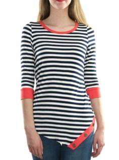 Striped Asymmetrical Buttons Top