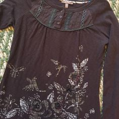 MISS ME CHOCOLATE BROWN SHIRT Super soft, very flattering. Flower beading details on the front. Miss Me Tops Tees - Long Sleeve