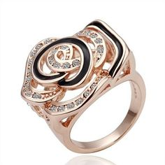 R072 wholesale 18k gold plated rings new fashion jewelry design jewellery engagement rhinestone flower ring free shipping