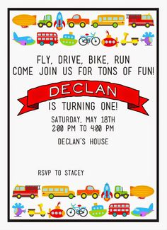 Life With Tiny Turner: Transporation Birthday Party Transportation Party: Planes, Trains and Automobiles 1st Birthday, Boy Declan's Invitation  Design by Cardtopia Company: http://www.etsy.com/shop/CardtopiaCompany?ref=search_shop_redirect