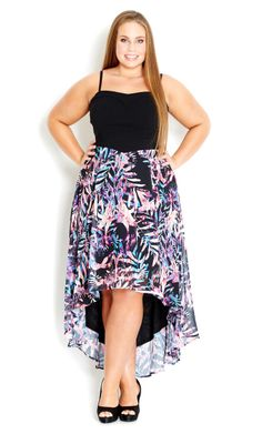 City Chic Jungle Print High/Low Maxi Dress (Plus Size) available at Chubby Fashion, Curvy Women Fashion, Plus Size Fashion, Womens Fashion, Ladies Fashion, Dress Plus Size, Plus Size Maxi Dresses, Plus Size Outfits, Tunic Dresses