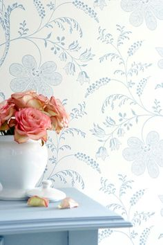 This delicate floral wallpaper features thin blue flowers reminiscent of century china. Browse our luxury wallpaper and order free samples online. Next Home Wallpaper, Luxury Wallpaper, Bedford Square, Botanical Interior, Little Greene, Room Color Schemes, Painted Paper, House And Home Magazine, Leaf Prints