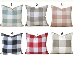 Indoor Pillow Covers ANY SIZE Decorative Home Decor Modern Farmhouse French Country Check Pillow Covers You Choose Designer Pillow, Designer Throw Pillows, Decorative Throw Pillows, Outdoor Pillow Covers, Throw Pillow Covers, Handmade Pillow Covers, Pillow Cover Design, Sofa Pillows, Fabric Swatches