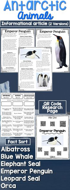 Antarctic Animals: Informational Article, QR Code Research Page & Fact Sort is a set of informational articles all about Antarctic Animals. These articles are full of interesting facts and details that students can use during reading and writing activities. Includes an article about each animal in two formats (two-page color photos & one-page text), QR Codes for online articles and videos about the animal and a fact sort sheet where students can sort facts about each animal's attributes, act