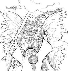 Moses And His People Passed Through Red Sea Coloring Page PageFull Size Image