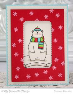 Color Palette Challenge Review - Sharon's card speaks to the versatility and compatibility of the Blueprints line. The scalloped mat and stitched panel were cut with Blueprints 20 while the scalloped window created to frame our friendly polar bear was cut with a die from Blueprints 19