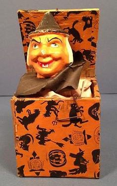 RARE-Vintage-Halloween-Jack-in-the-Box-WITCH-Germany-c1930s-pcnm-AS-IS