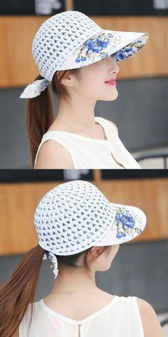 Women Ladies Summer Cool UV Straw Hat Beach Sunscreen Visor Straps Cap 3989d90c5fa4