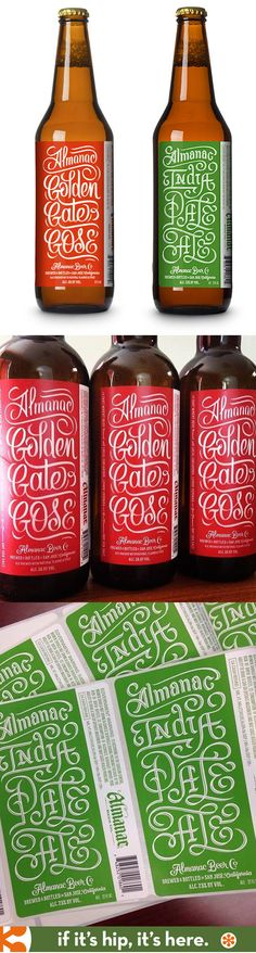 hand-lettered beer labels for Almanac beer by erik marinovich