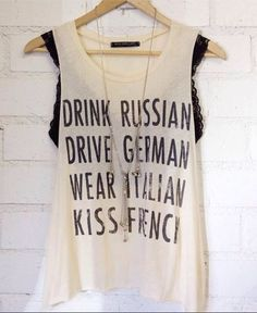 Drink, Drive, Wear, Kiss Graphic Tank - Threadsence