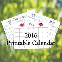 2016 Printable Calendar Featuring Watercolor by LeavesOfPaper