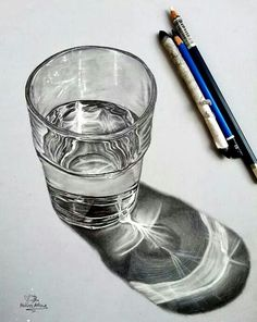 Realistic Drawings drawing a glass of water - A list of still life ideas for teachers and Art students. The collection includes old favourites, as well as more unusual still life drawing topics. 3d Drawings, Realistic Drawings, Drawing Sketches, Drawing Portraits, Horse Drawings, Amazing Pencil Drawings, 3d Pencil Art, Pencil Drawing Images, Pencil Sketching