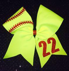 Softball 3 Neon bow with custom number & glitter by iSparkleBows Softball Crafts, Softball Bows, Softball Shirts, Girls Softball, Softball Players, Fastpitch Softball, Cheer Bows, Softball Stuff, Volleyball Drills