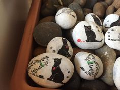 20x Paperweight-Pebble Art - Painted Pebble- Painted Stone with Decoupage Cat Design by BlondexBoutique on Etsy