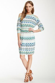 Printed Knit Cold Shoulder Dress by MSA Haute Couture Inc. on @HauteLook