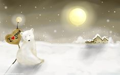 Wallpaper-winter-landscape-polar-bear-snow in Beautiful Christmas Pictures and Creative Christmas Designs Polar Bear Illustration, Winter Illustration, I Love Snow, Winter Love, Winter Night, Winter White, Snow White, Bear Wallpaper, Home Wallpaper