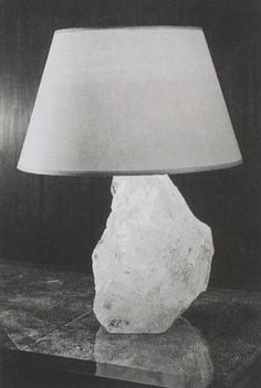 Table Lamp Mounted on a Quartz Base, Parchment Shade, ca 1925 - Jean-Michel Frank Lighting Concepts, Lighting Design, Quartz Lamp, Rock Lamp, Quartz Rock, Bedside Table Lamps, Look Vintage, Elements Of Design, Interior Stylist