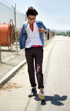 Androgynous Fashion - love the colors and the lil pop of the belt. very random, casual, classic