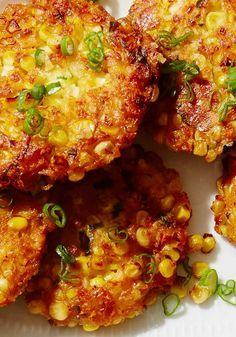 Corn season is short but so very sweet. Nikki Dinki, cohost of Cooking Channel's Junk Food Flip and author of Meat on the Side, has a bounty of ways to celebrate the golden harvest. Her crisp, cheesy corn cakes are the ultimate comfort food, and the easy blueberry salsa on top is refreshingly tart.