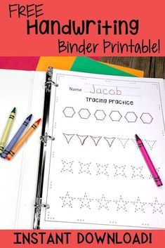 Free Handwriting Sheets That Will Improve Your Child S Handwriting Free Handwriting Binder Printable Help Your Children Improve Their Handwriting Skills With This Fun 48 Page Printable Binder Full Of Handwriting Skill Worksheets That Your Kids Will Love Pre K Curriculum, Preschool Curriculum, Preschool Worksheets, Preschool Learning, Free Handwriting Worksheets, Handwriting Sheets, Handwriting Practice, Improve Handwriting, Preschool Binder