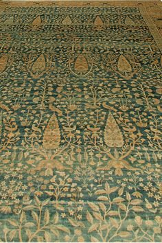 Antique Persian Rug Carpet Kirman with green floral ornaments. Close up rug. Interior living room decor with 20th century antique ornamental rug hand knotted wool #rug #interior #decor #antiquerug