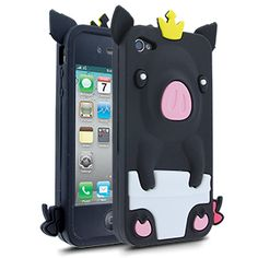 Barnimals Collection Royal Bacon Silicone Case for Apple iPhone 4/4S - Black