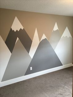 Snow-capped mountains designed for a cute child& room and painted by Unf . Snow covered mountains designed and painted by Unfaux for a cute nursery Baby Room Boy, Baby Bedroom, Nursery Room, Kids Bedroom, Bedroom Loft, Child's Room, Baby Baby, Baby Room Themes, Baby Room Decor
