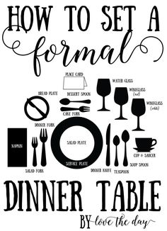 Proper place setting tutorials Learn how the proper place setting for both informal and formal dinner tables! Full tutorial and tips provide Formal Dinner, Casual Dinner, Place Settings, Table Settings, Anniversary Dinner, Anniversary Ideas, Hosting Thanksgiving, Everyday Dishes, Dessert Spoons