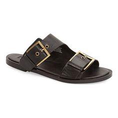 Topshop 'Franco' Sandal - black sandals, black flat sandals, black buckle sandals, black double buckle sandals