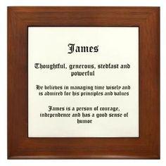 James Name Meaning Framed Tile