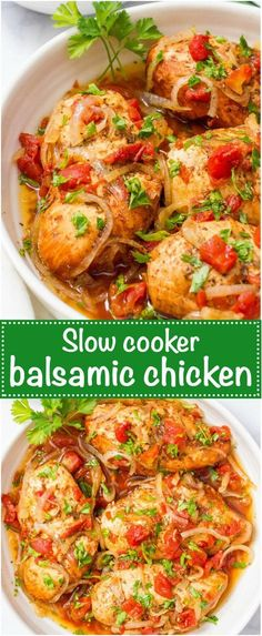 Slow cooker balsamic chicken is easy to prep with just a few ingredients for a simple weeknight dinner that has big flavor! | www.familyfoodonthetable.com
