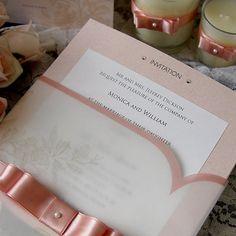 Romantic Pink Wedding Invitation Card (Qty 25) - custom made wedding invitation. £130.00, via Etsy.
