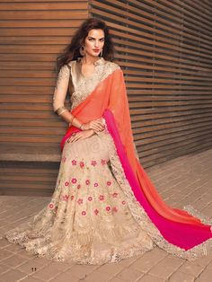 #Designer Sarees#Orange & Beige #Indian Wear #Desi Fashion#Natasha Couture#Indian Ethnic Wear