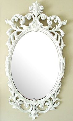 White Ornate Mirror $38