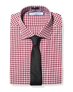 Tommy Hilfiger red gingham shirt. DKNY tie, black with white polka dots.