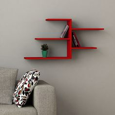 Faba Wall Shelf Red h:21.1' w:42.1' d:8.6' * Additional details at the pin image, click it  : Floating Shelves