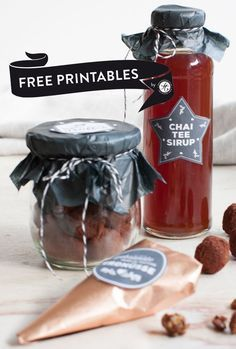 Geschenke aus der Küche: Chai-Tee-Sirup, gebrannte Vanille-Matcha Erdnüsse und Spekulatius-Trüffel! +++ alle Labels als free printables!