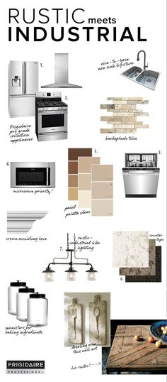 Rustic meets industrial in @teeniecakesblog's dream kitchen. Her inspiration mood board includes the French Door Refrigerator, Freestanding Range, Dishwasher & Over-The-Range Microwave from the Frigidaire Professional Collection, as well as granite counter tops and lighting from allen + roth.