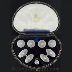 Edwardian platinum and diamond men's dress set