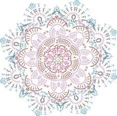 Crochet Doily Diagram, Crochet Mandala Pattern, Granny Square Crochet Pattern, Crochet Cross, Freeform Crochet, Crochet Chart, Crochet Squares, Crochet Doilies, Crochet Flowers